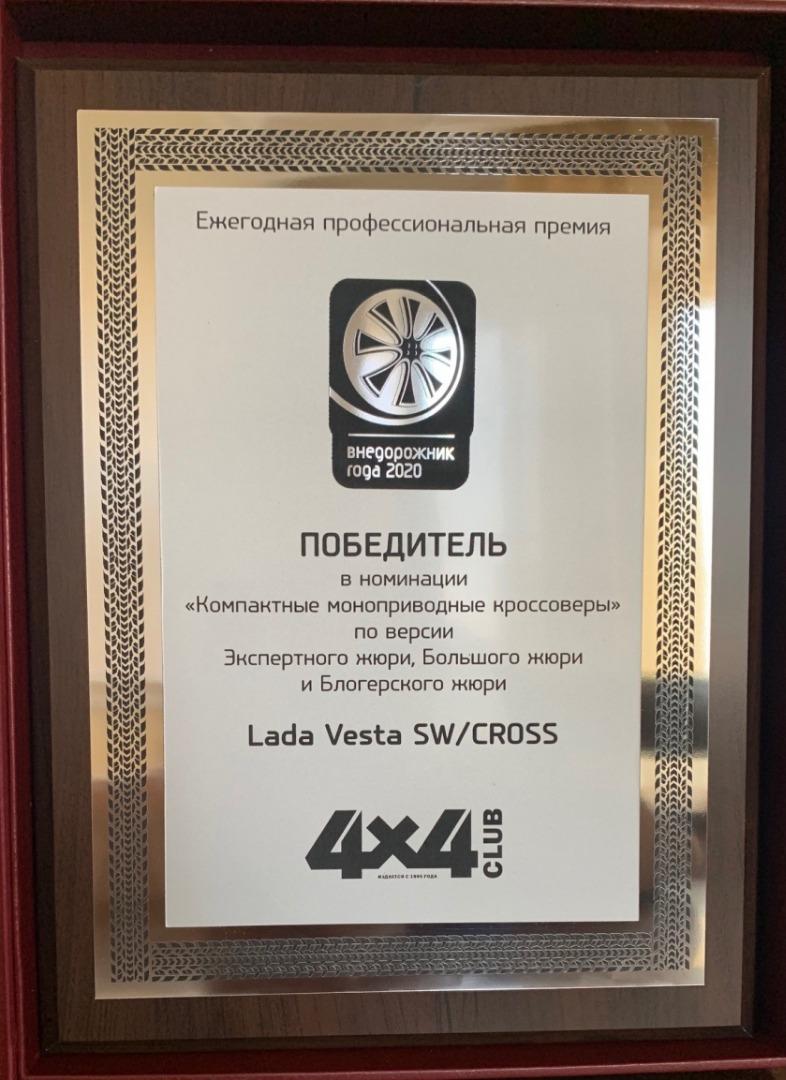 LADA Vesta SW Cross стала победителем премии «Внедорожник года 2020»